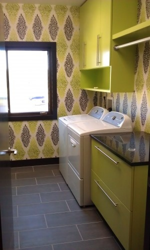 My kind of laundry room:): Cabinets, Small Laundry Rooms, Decor Ideas, Open Shelves, House Ideas, Floors, Color, Laundry Rooms Design, Wallpapers