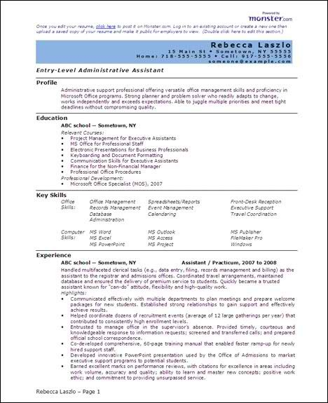 Resume Microsoft Office Specialist