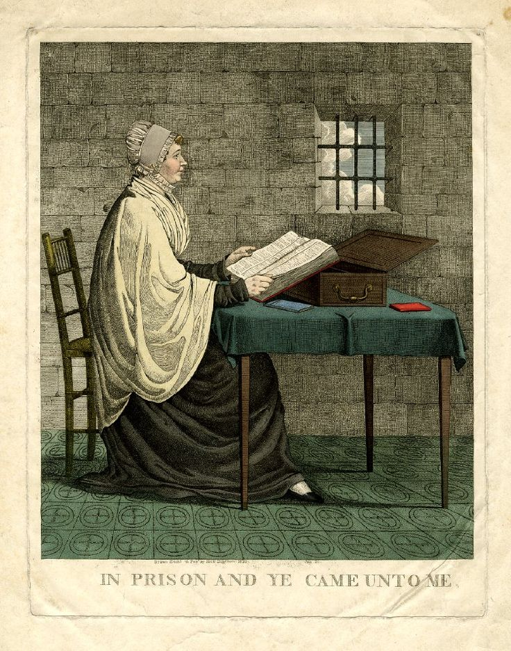 A portrait of Elizabeth Fry (1780-1845) seated in a Newgate cell, in profile to the right, at a small table. She wears the Quaker dress of all portraits (by George Richmond, whole length, and C. R. Leslie, half length). 20 July 1820  British Museum 1980,U.1007