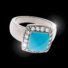 Desert Dreams Description    A square cut multi-faceted turquoise stone set in a subtle hematite finish and surrounded by 12 brilliant top quality cubic zirconia is extraordinary in its look.  If unique jewellery is your pleasure, then this ring was designed especially for you.     Available in size 5-12