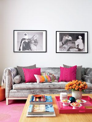 Bold pink and luxe fabrics look chic with black-and-white photography.