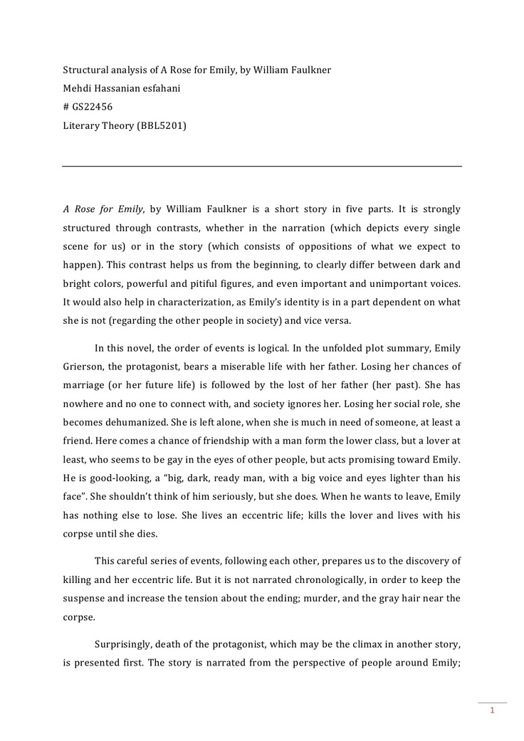 an analysis of the archetype of emilys father in a rose for emily a short story by william faulkner Searching is a thriller about a father retroactively learning about his a complete sequence analysis could be each episode on a different short story by.