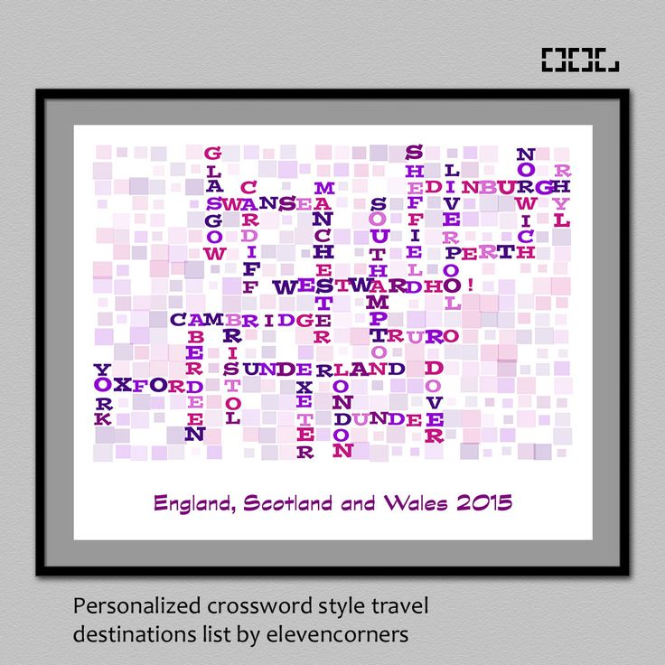 Personalized travel list crossword style print | wall art decor | customized travel print | traveler gift | custom destination list poster by elevencorners on Etsy #elevencorners #etsy #crossword