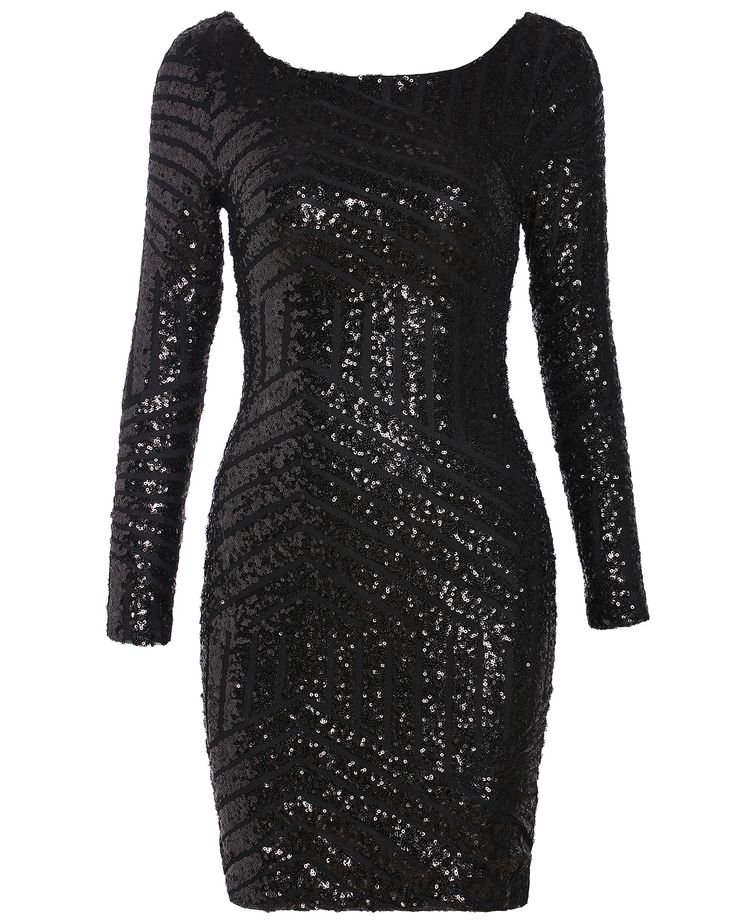 Black Long Sleeve Backless Sequined Dress 25.99 http://www.shareasale.com/r.cfm?B=454919&U=677178&M=39236&urllink=