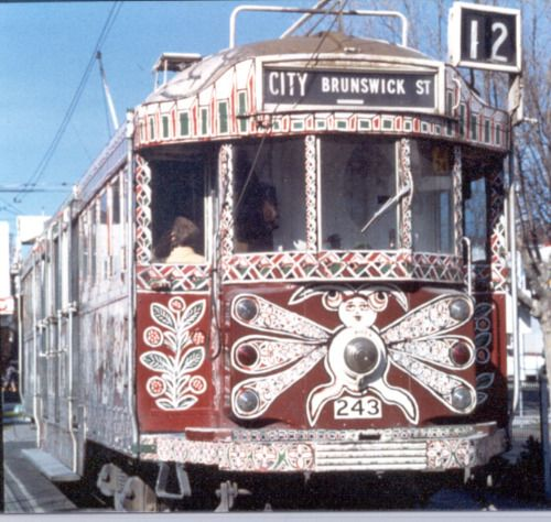 Melbourne tram, with makeover by artist Mirka Mora.