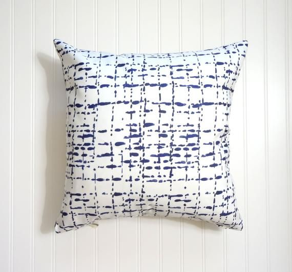 Blue And White Abstract Lines Pillow Cover Navy Blue And Etsy Blue And White Pillows Pillows Designer Fabric Pillows