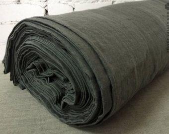 Washed Graphit grau Leinen Stoff-Medium Grau Leinen-dicht