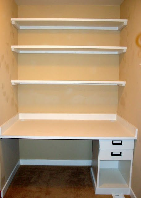 Holy Craft: My craft closet update .... Like the way these shelves were made. Bet Home Depot would cut them to length.