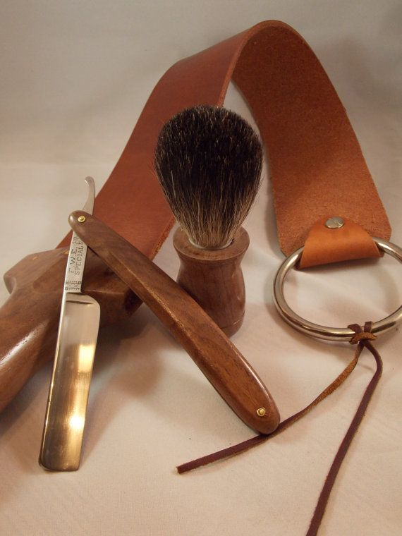 Straight Razor Shaving Kit by FyrewoodDesigns on Etsy, $129.99.  Is it wrong that I find this sexy?