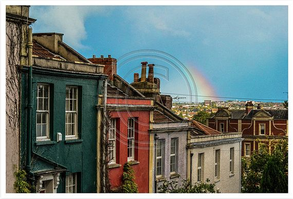 Rainbow Over Coloured Houses - Colour photo print available in 4 sizes