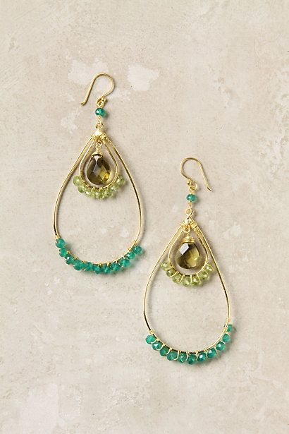 pretty: Green Earrings, Teardrop Earrings, Anthropologie Earrings, Anthropology Earrings, Wire Wraps, Raindanc Earrings, Anthropologie Com, Anthropologie 48, Stones Earrings