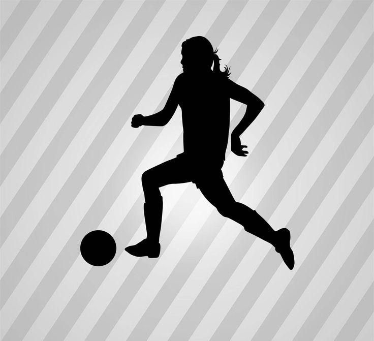 Soccer Girl Player Silhouette Soccer - Svg Dxf Eps Silhouette Rld RDWorks Pdf Png AI Files Digital Cut Vector File Svg File Cricut Laser Cut