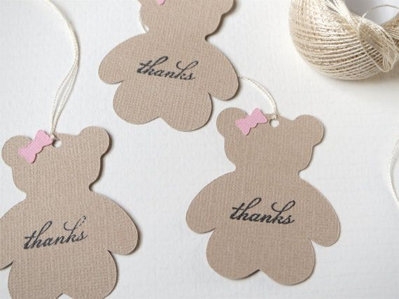 Teddy bear baby shower favor tags Girl baby by WildSugarberries, $9.50
