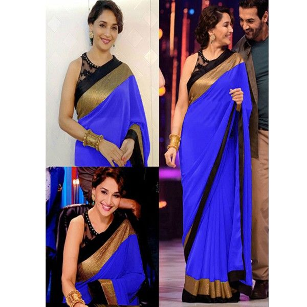#MadhuriDixit Georgette Plain Blue #Bollywood Style #Saree #StayTrendyWithIndiaRush