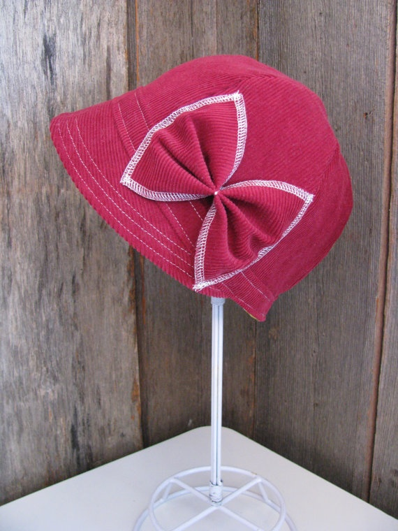 Poppy Red Corduroy Cloche with Bow by sugarsoul on Etsy, $65.00