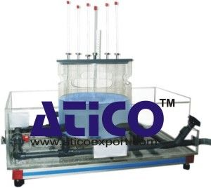 The apparatus comprises a clear acrylic cylinder on a plinth designed to produce and measure free and forced vortices. The free vortex is generated by water discharging through an interchangeable orifice in the base of the cylinder and the resulting profile is measured using a combined caliper and depth scale.  more information  https://www.aticoexport.com/product_category/fluid-mechanics-lab/