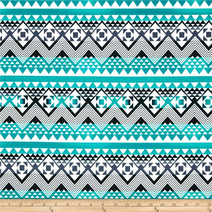 Spandex ITY Jersey Knit Tribal Chevron Turquoise/Black/Cream from @fabricdotcom  This silky ITY jersey knit is perfect for creating flowy tops, fuller skirts and drapey dresses with a lining. It has a super smooth hand, fluid drape and about 40% stretch across the grain and 25% vertical stretch for comfort and ease.
