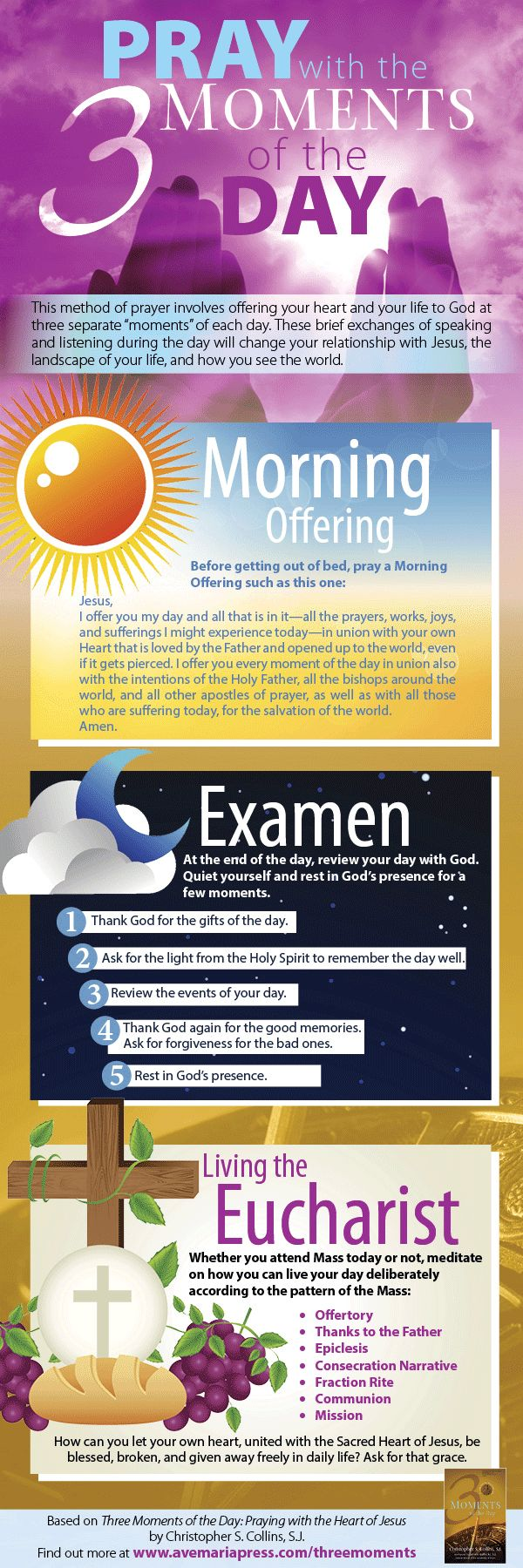 Pray with the Three Moments of the Day: 1) Morning Offering, 2) Examen, and 3) Living the Eucharist
