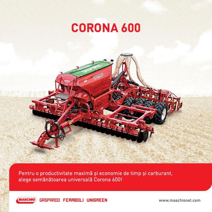 Destinată în special fermelor mari, semănătoarea universală Corona poate fi folosită atât la plantele prăşitoare, cât şi la păioase. De asemenea, utilajul este ideal atât pentru terenuri prelucrate tradiţional, cât şi pentru cele cu lucrări minime sau chiar pentru semănat direct în mirişte.  Semănătoarea Corona 600 este prevăzută cu 48 de discuri pentru prelucrarea solului, având o lăţime de lucru de 6 metri, iar cea de transport de 3 metri. Capacitatea bazinului este de 3.500 litri.