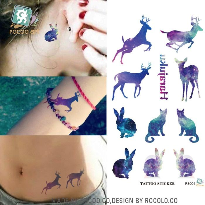 R3004 Elk Patrón de Carreras de Color Desechables 3d Impermeable Etiqueta Engomada Del Tatuaje Pegatinas Temporales Del Tatuaje Del Flash Del Tatuaje Falso Papel De Calcomanía
