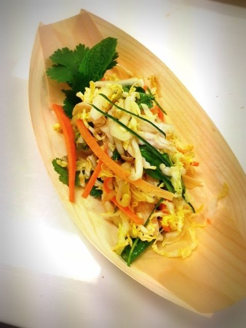 Crave hawkers stand and food - Coconut chicken wombok salad!