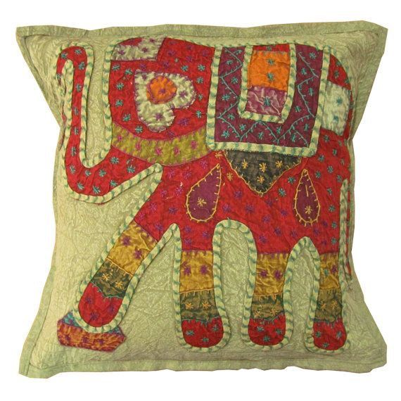 hippie bohemian indian elephant embroidery pillow case