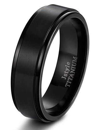Jstyle Titanium Rings For Men Wedding Engagement Rings Promise 8MM Size  7 14 Black
