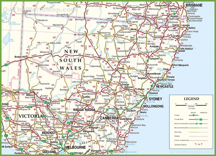 Large detailed map of New South Wales with cities and towns