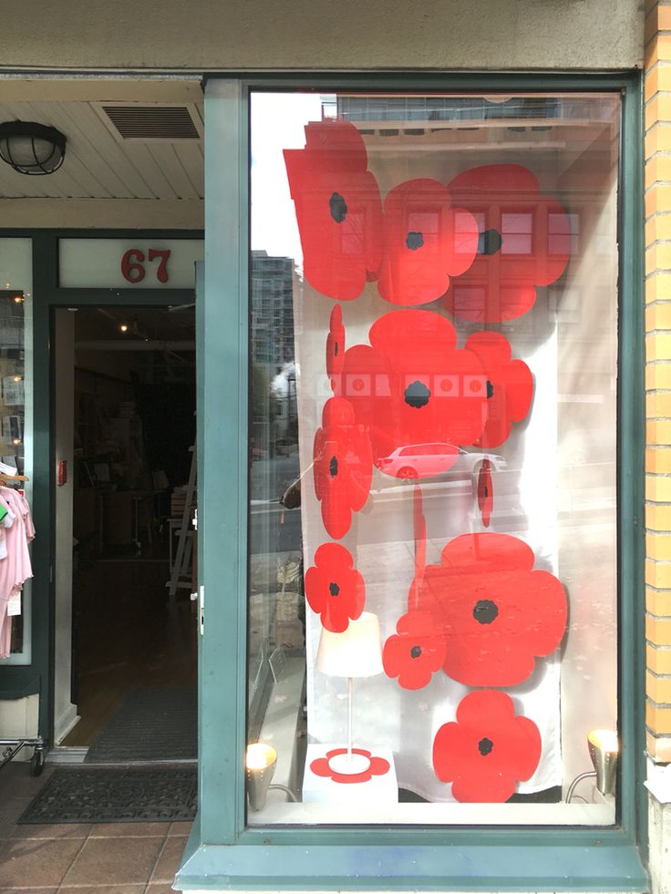 Rememberance Day Window Display with Poppies