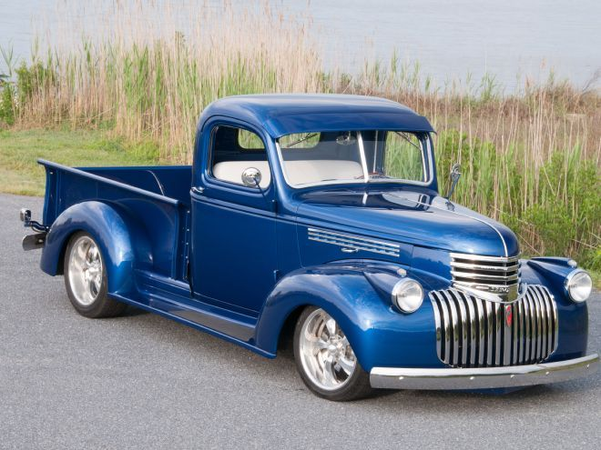 Wayne and Linda Voshell's 1947 Chevrolet pickup truck has a killer stance, handles like it's on rails and accelerates like a hot rod should!