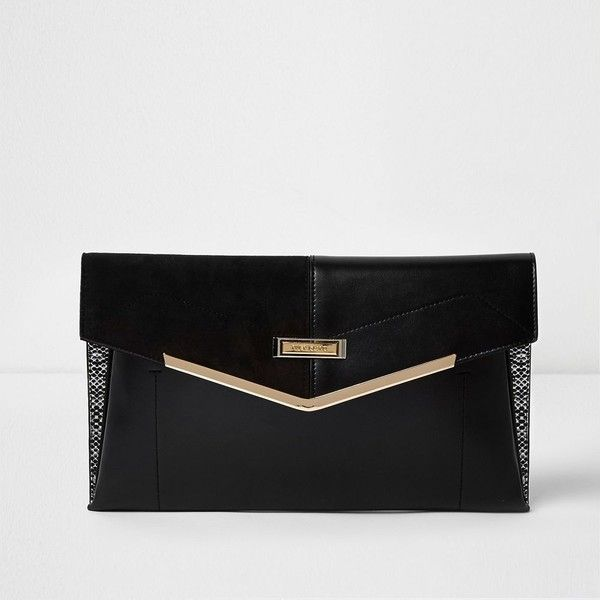 River Island Black panel envelope clutch bag ($32) ❤ liked on Polyvore featuring bags, handbags, clutches, bags / purses, black, clutch bags, women, snap purse, river island purse and river island
