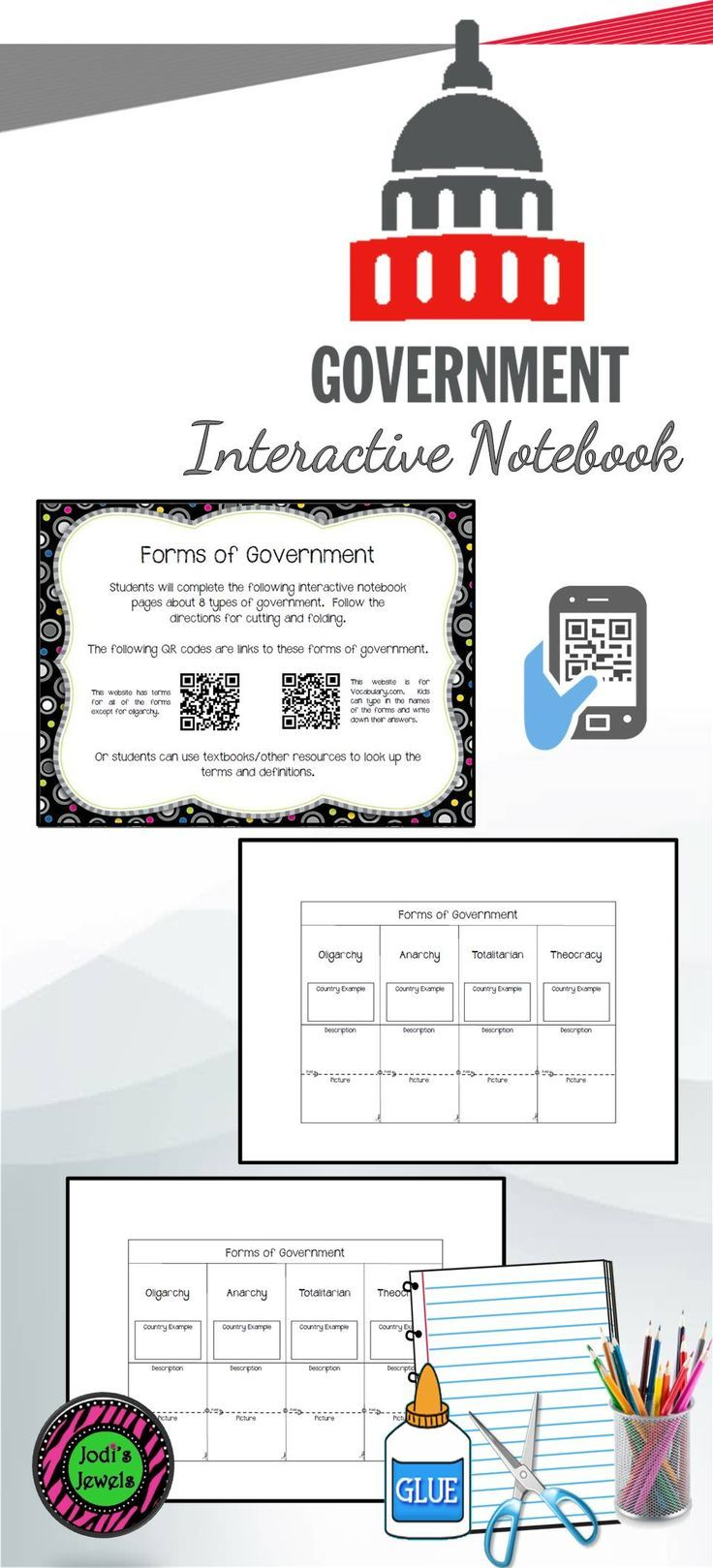 Interactive Notebook activity about the following forms of government: Democracy, Dictatorship, Monarchy, Republic, Oligarchy, Anarchy, Totalitarian, and Theocracy. Two QR codes are included for BYOT or students can use textbooks and other resources to find the terms and definitions.
