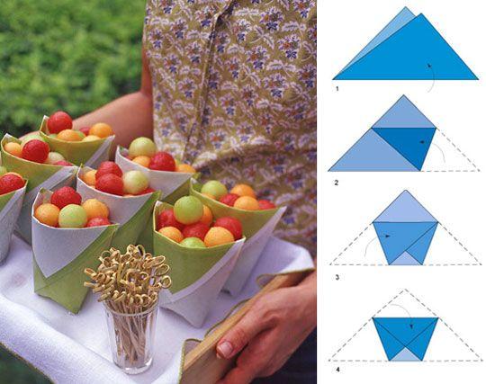 DIY paper pouches for picnics: Little Boxes, Fruit Salad, Cute Ideas, French Fries, Fruit Cups, Parties Ideas, Paper Cups, Bags, Parties Food