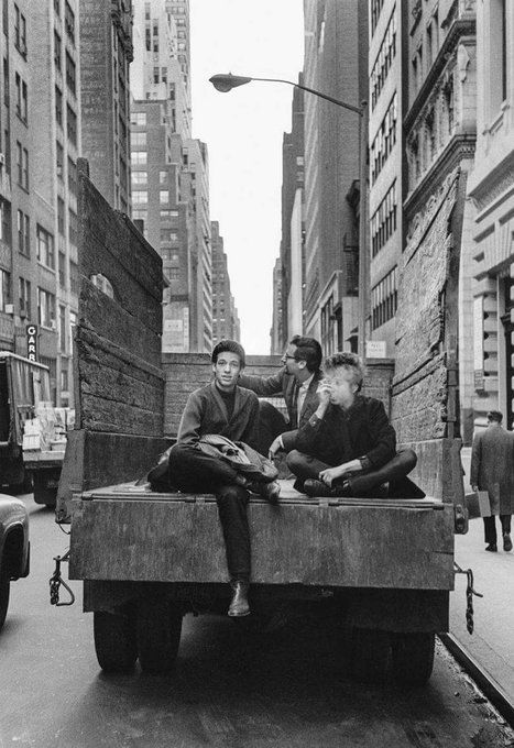 Bob Dylan on 5th Avenue with Peter Yarrow, of Peter, Paul and Mary, and the guitarist John Hammond Jr.