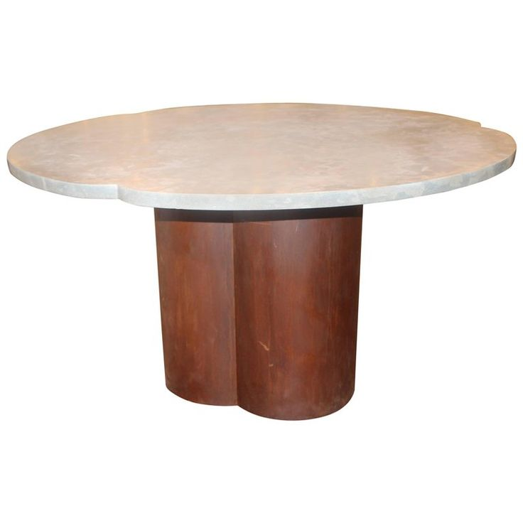 Clover Shaped Italian Dining Table Base with Honed Lagos Azul Limestone Top | From a unique collection of antique and modern dining room tables at https://www.1stdibs.com/furniture/tables/dining-room-tables/