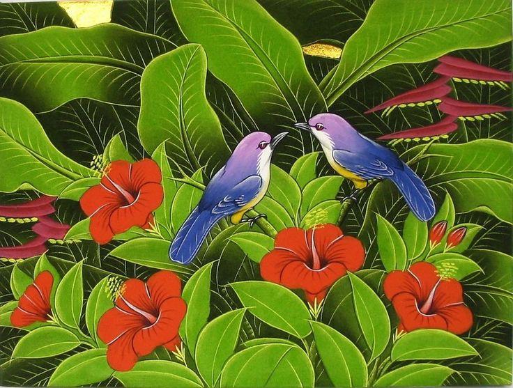 VÖGEL IM REGENWALD GEMÄLDE BALI Tropengemälde Vogel Bild Balibild Bali Malerei  in Antiquitäten & Kunst, Internationale Antiq. & Kunst, Asiatika: Südostasien | eBay!