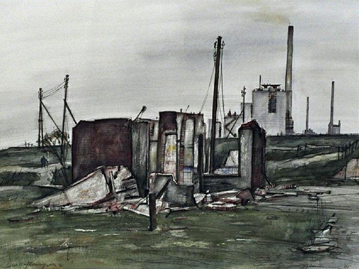 Het (laatste) huis in het buurtschap Blankenburg wordt afgebroken, uit het zuiden. Met op de achtergrond de Imperial Chemical Industries - Kemper, C. J. ( Charles )