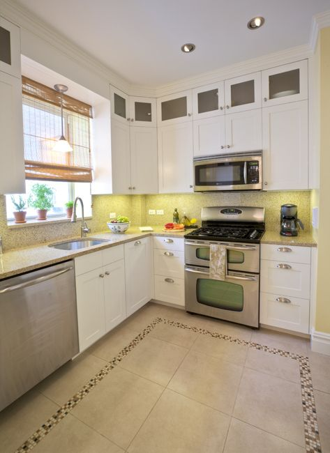 This small kitchen flaunts big design with a contemporary for Country style kitchen handles