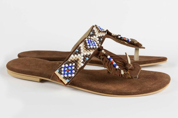 Jeweled leather sandal Africana - Brown / Blue
