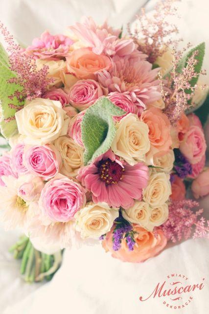 kolorowy, pastelowy bukiet ślubny