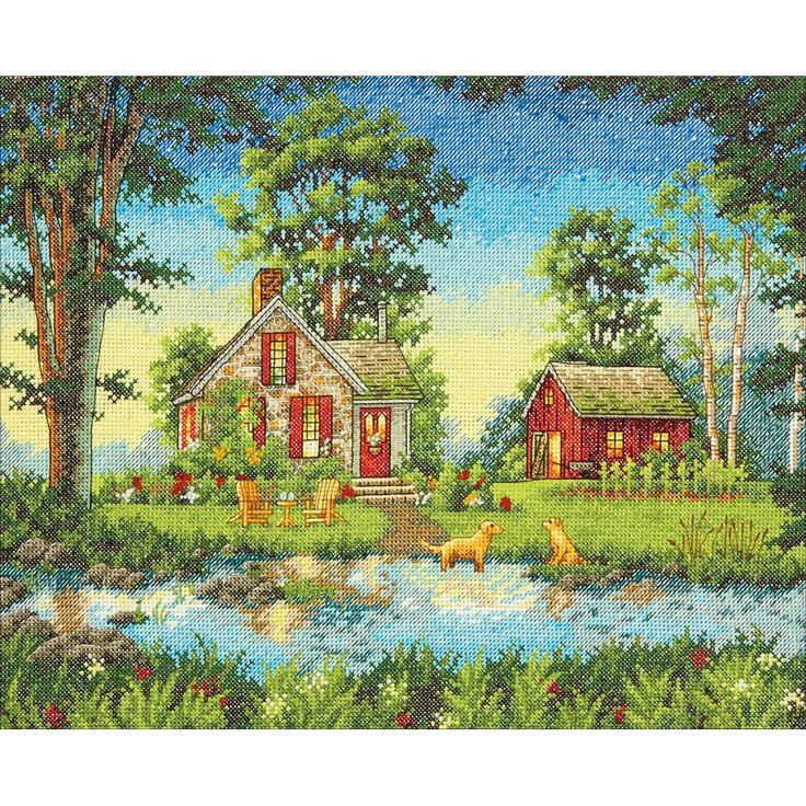 """DIMENSIONS-THE GOLD COLLECTION: Counted Cross Stitch. Kits are wonderfully detailed with full and half cross stitches. Mats and frames are not included. Finished size: 14"""" x 11"""". Design: A Summer Stro"""