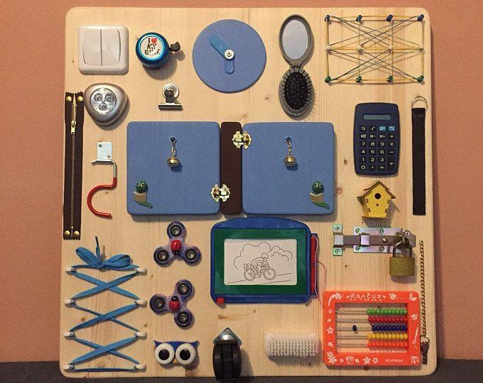 Sensory Board-Toddler Busy Board-Montessori Furniture Spinner Fidget Activity Board Montessori Board