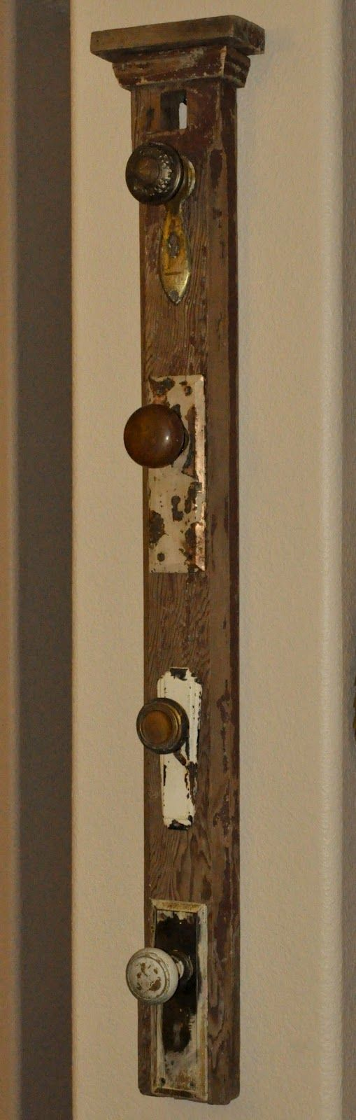 repurposed front door | ... that Pinner made out of a salvaged mantle post, door knobs, and faceplates