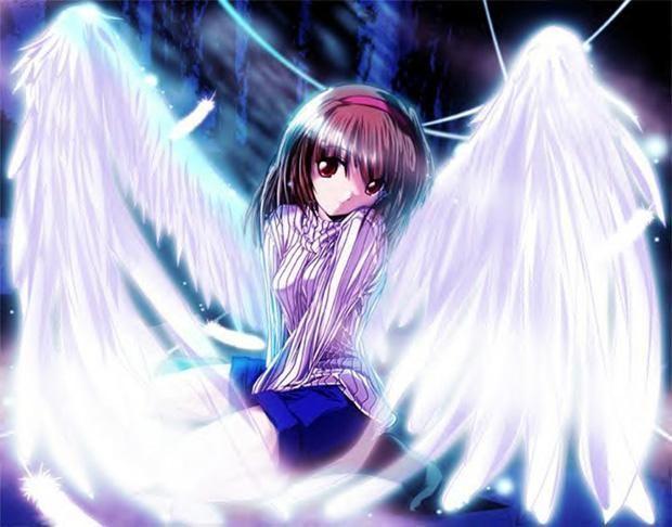 brown hair angel anime