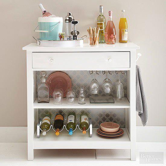 A dresser made over into a bar cart - love it!
