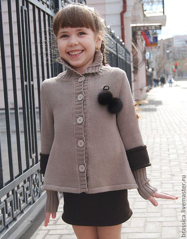 Купить Комплект вязаный для девочки City Girl <strong>вязание жакетов спицами для девушек</strong> - жакет, Детский жакет, вязаный жакет
