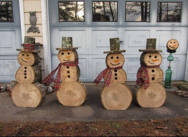 Log snow men, awesome idea!