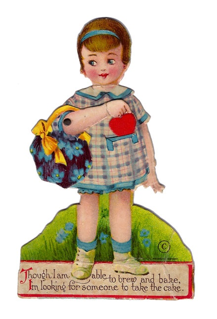 1930s Little Girl Mechanical Valentine Though I Am Able