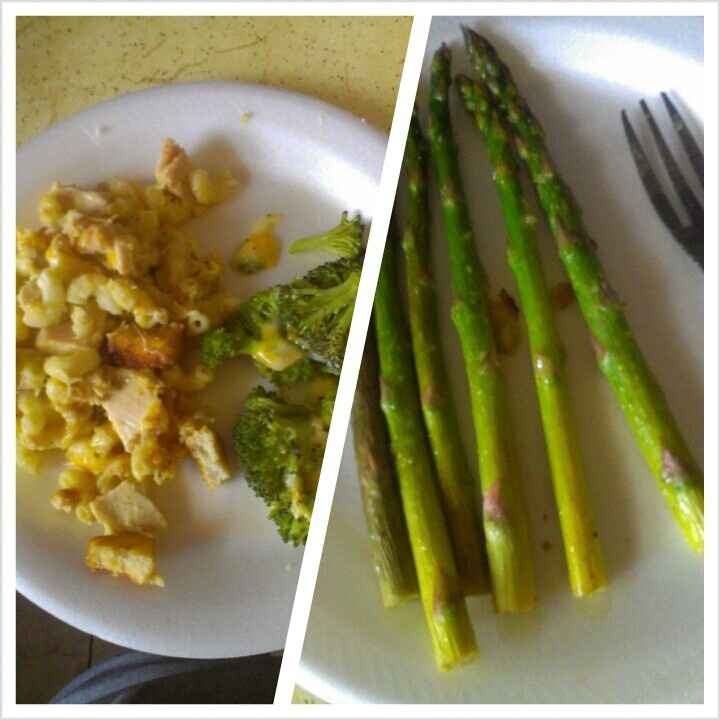 ... pepper.. Steamed and roasted broccoli: steamed first, then thrown in