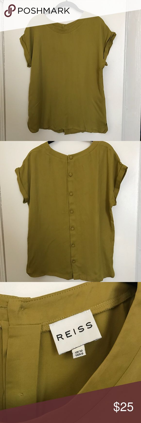 Reiss Silk Shirt Chartreuse silk shirt from Reiss with button detail down back. Reiss Tops Blouses